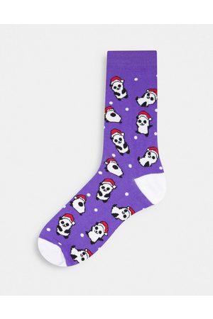 ASOS Christmas panda ankle socks in purple