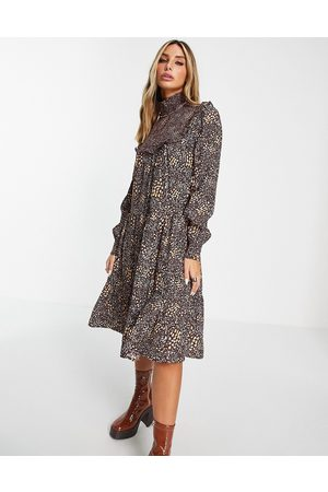 French Connection Mulher Vestidos de Festa - Tiered mini dress in chocolate ditsy-Brown