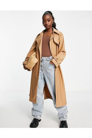 Aria Cove Full oversized maxi trench coat with tie waist detail in tan-Neutral