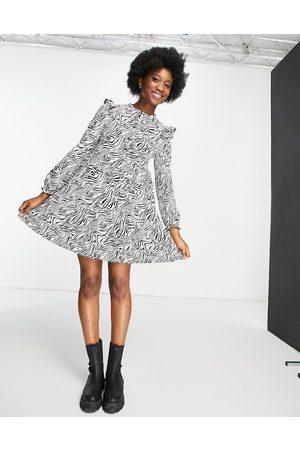 Miss Selfridge Frill shoulder shirt dress in animal print-Black