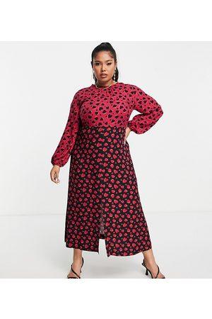 Closet Mulher Vestidos de Festa - Contrast midi tea dress in plum heart print-Multi