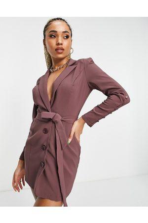 Saint Genies Mulher Vestidos de Festa - Sculpted shoulder belted blazer dress in mauve-Purple