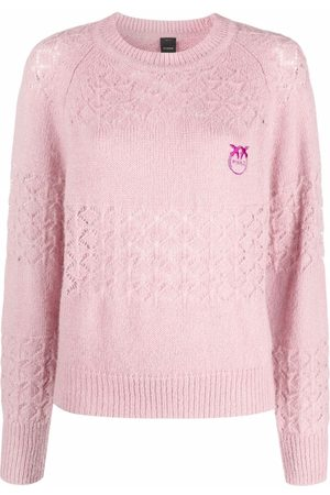 Pinko Logo-embroidered diamond-knit jumper