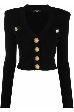 Balmain Mulher Camisolas - Logo-button cropped knitted cardigan