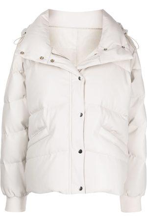 Jonathan Simkhai Faux-leather hooded puffer jacket