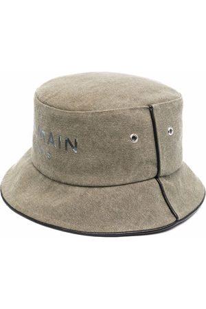 Balmain Homem Chapéus - B-Army logo-print piped-trim bucket hat