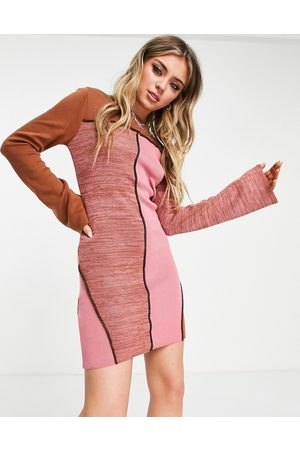 ASOS Knitted patchwork mini dress with seam detail-Brown