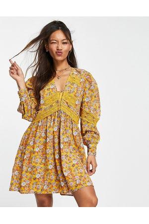 ASOS DESIGN Lace insert mini smock dress in floral print-Multi