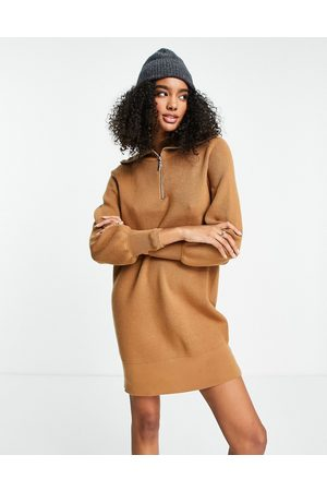 Y.A.S Zip front knitted dress in brown