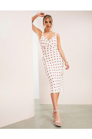 ASOS ASOS DESIGN midi dress with cowl detail and tie back in spot print-Multi