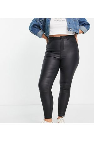 New Look Plus New Look Curve faux leather coated lift & shape skinny jean in black