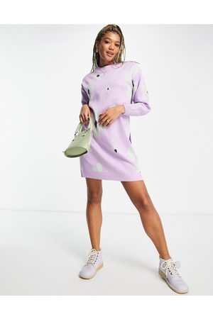 Daisy Street Mulher Vestidos de Malha - Relaxed knitted jumper dress in retro floral-Purple