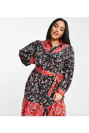 Wednesday's Girl Curve Mulher Vestidos Casual - Midi shirt dress in mix floral with tie waist-Multi