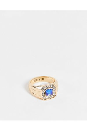 WFTW Blue stone signet ring in gold