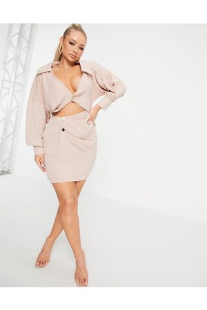 ASOS Mulher Vestidos Casual - ASOS DESIGN linen shirt dress with cut out in natural linen-Brown