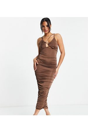 Missguided Strappy ruched midi dress with cut out detail in brown