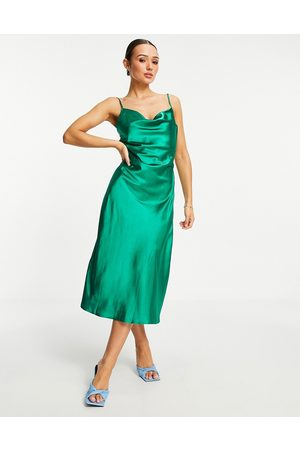 VILA Satin cami dress with lace deep v back in bright green