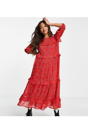 Wednesday's Girl Frill detail midi smock dress in red heart print