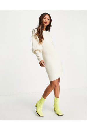 French Connection Joss puff sleeve knitted dress in ecru-Neutral