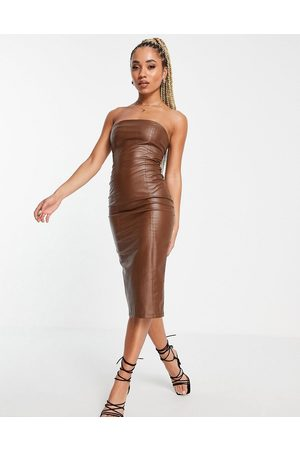 Missyempire Leather look bandeau midi dress in chocolate-Brown