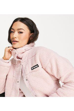 Columbia Lodge Baffled sherpa jacket in pink Exclusive at ASOS
