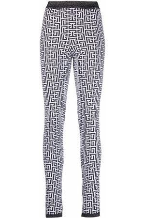 Balmain Glitter monogram-pattern stretch leggings