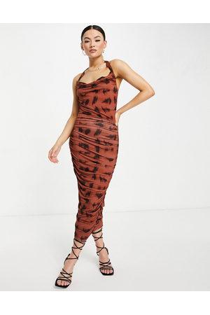 ASOS Halter cowl ruched midi dress in smudge animal print-Multi