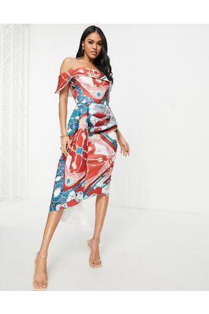 ASOS Mulher Vestidos de Festa - Bardot pencil dress with sash in regal print-Multi