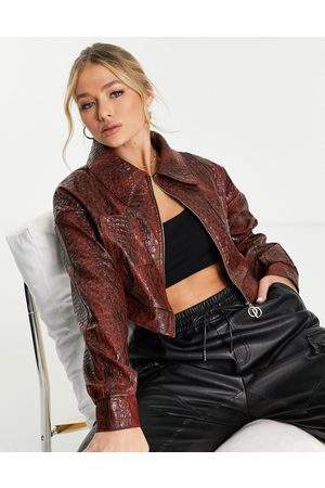 The O Dolls Collection ODolls Collection leather look moc croc volume sleeve jacket in chocolate-Pink