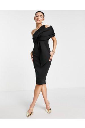 ASOS Peekaboo shoulder tuck midi pencil dress in black