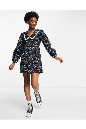 Miss Selfridge Mulher Vestidos Casual - Collared smock dress in blue ditsy