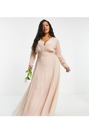 ASOS Mulher Saias Compridas - ASOS DESIGN Curve Bridesmaid ruched waist maxi dress with long sleeves and pleat skirt in blush-Pink