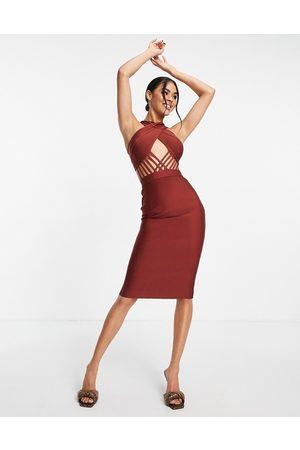 Rare Fashion Mulher Vestidos de Festa - London cross neck bandage bodycon midi dress with cut out in brown