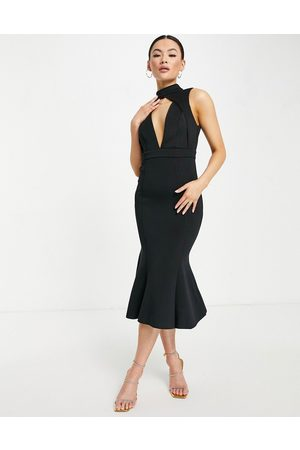 ASOS Mulher Vestidos de Festa - Sleeveless midi dress with high neck and cut out detail in black-Purple