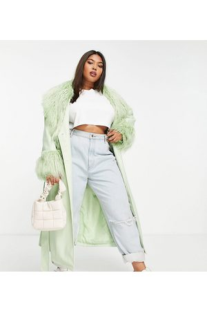 ASOS ASOS DESIGN Curve leather look belted coat with borg trim in pistachio-Green