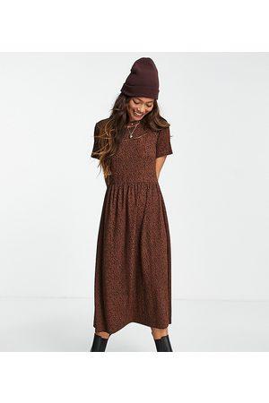 Wednesday's Girl Midi smock dress in smudge spot print-Brown