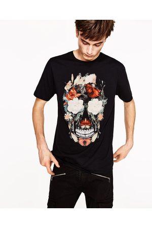 Homem T-shirts & Manga Curta - Zara T-SHIRT CAVEIRA FLORES