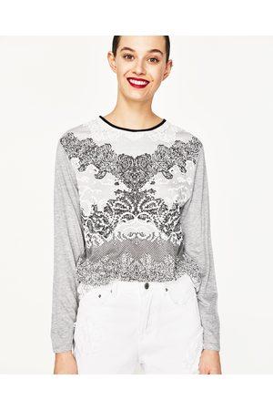 Senhora T-shirts & Manga Curta - Zara T-SHIRT ESTAMPADO ENGOMADO