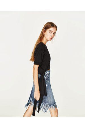 Senhora T-shirts & Manga Curta - Zara T-SHIRT LAÇO TEXTO