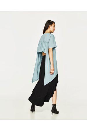 Senhora T-shirts & Manga Curta - Zara T-SHIRT COMBINADA ASSIMÉTRICA
