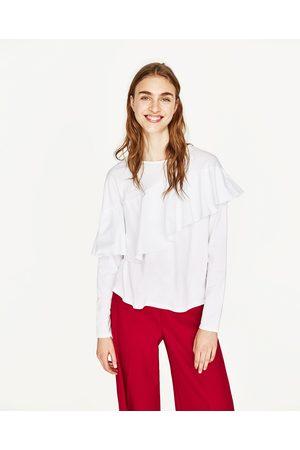 Senhora T-shirts & Manga Curta - Zara T-SHIRT COMBINADA FOLHO