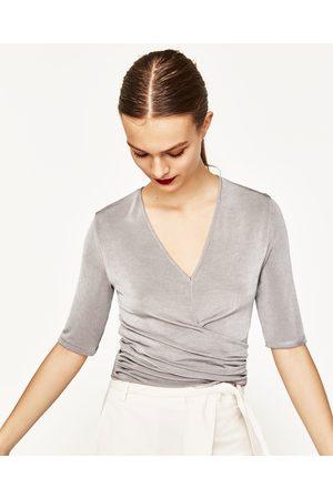 Senhora Tops de Cavas - Zara TOP DRAPEADO - Disponível em mais cores