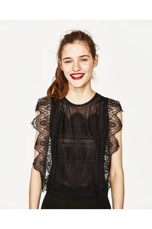 Senhora T-shirts & Manga Curta - Zara T-SHIRT TULE RENDA