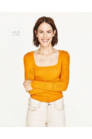Senhora T-shirts & Manga Curta - Zara T-SHIRT DECOTE QUADRADO - Disponível em mais cores