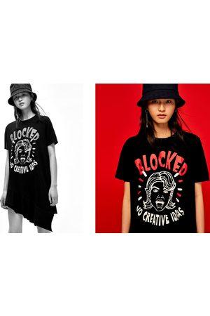 Senhora T-shirts & Manga Curta - Zara T-SHIRT ESTAMPADA COM FOLHOS