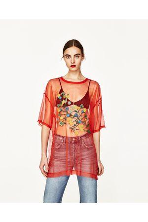 Senhora T-shirts & Manga Curta - Zara T-SHIRT TULE BORDADO FLORAL