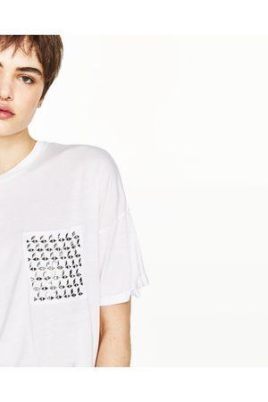 Senhora T-shirts & Manga Curta - Zara T-SHIRT PORMENORES METÁLICOS