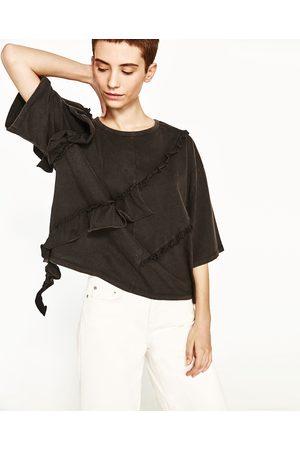 Senhora T-shirts & Manga Curta - Zara T-SHIRT FOLHOS - Disponível em mais cores